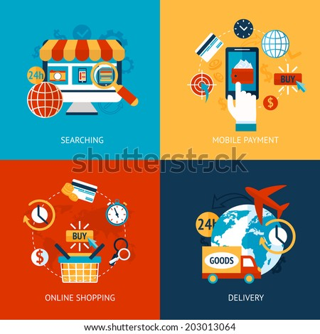 Business concept flat icons set of online shopping internet purchase and delivery infographic design elements vector illustration - stock vector
