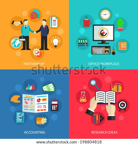 Business concept flat icons set of partnership office meeting accounting workplace and project ideas for infographics design web elements vector illustration - stock vector