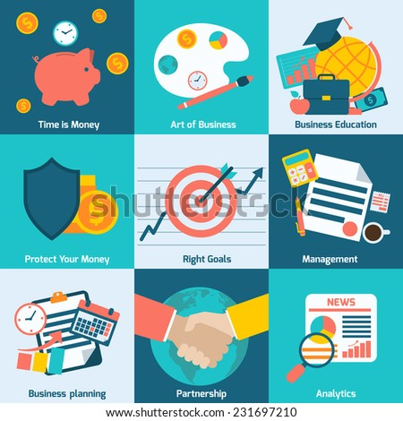 Business concept flat icons set with time is money right goals management analytics isolated vector illustration - stock vector