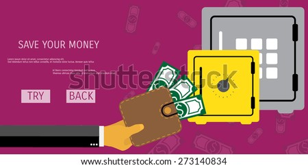 Business concept for online internet banking, finance investment, save money, bank deposit. - stock vector