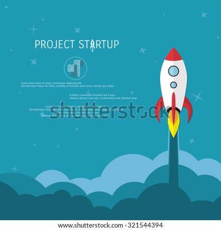 Business concept for project startup. Rocket launch. - stock vector