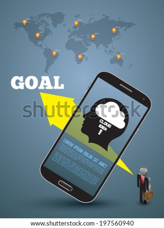 Business concept for success template with smartphone realistic and business man icon.
