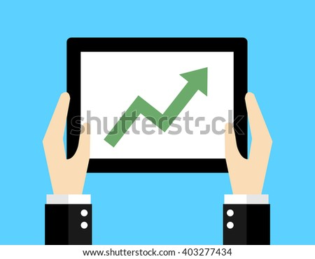 Business concept, Green arrow goes up. - stock vector