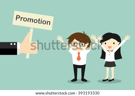 Business concept, Hand offers promotion to businessman and business woman. Vector illustration. - stock vector