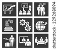 business concept icon set, business management - stock photo