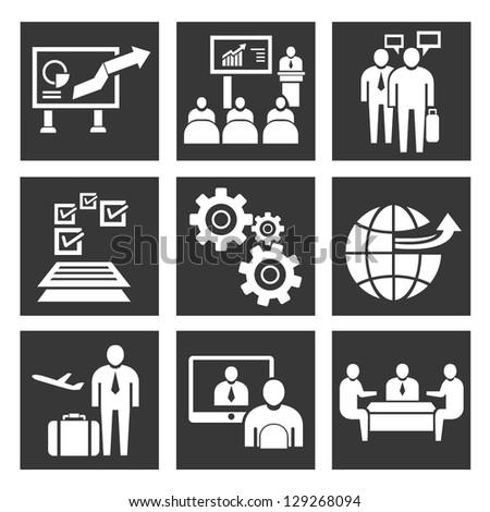 business concept icon set, business management - stock vector