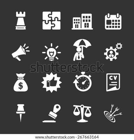 business concept icon set, white version, vector eps10. - stock vector