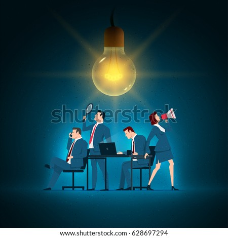 Business concept illustration. Business team working. Elements are layered separately in vector file.