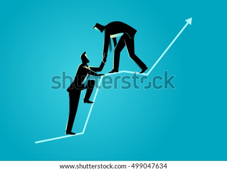 Business concept illustration of businessmen helping each other on top of graphic chart
