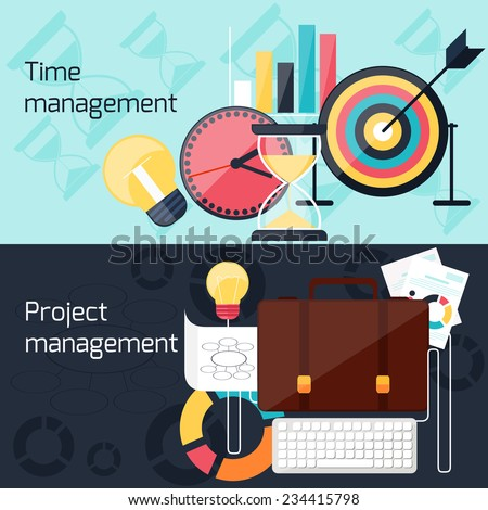 Business concept in flat design for project and time management with idea, timing and business symbols - stock vector