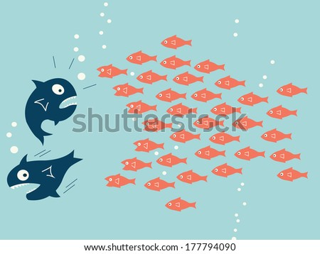 Business concept in teamwork or unity, representing with small fish gathering together that can fight and chasing big fish.  - stock vector