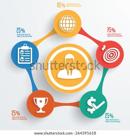 Business concept info graphic design on white background,clean vector - stock vector