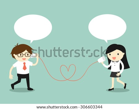 Business concept, Love in office. Businessman and business woman talking via cup telephone. Vector illustration. - stock vector