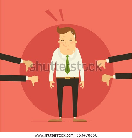 Business concept - man getting bad evaluation by colleagues / bosses. Vector illustration - stock vector