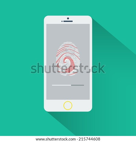 Business concept of mobile phone or smartphone with fingerptint scanner app in progress on screen. and fingerprint on screen vector illustration - stock vector