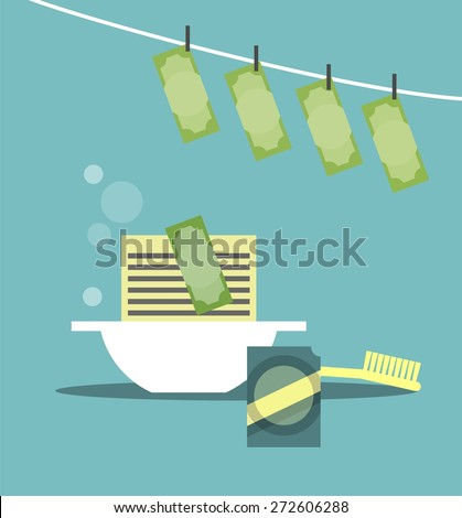 business concept of money laundering wash powder in the bowl and hang to dry - stock vector