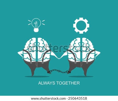 business concept of the human brain stylized business character in different situations - stock vector