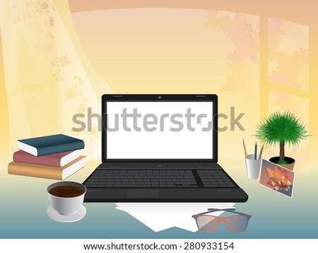 Business concept. Office interior, workplace organization. Vector, EPS 10 - stock vector