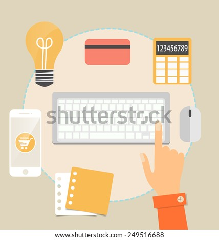 Business concept. Online shopping. Infographics background E-commerce.  - stock vector