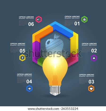 Business Concept Realistic Bulb and Numbers Infographics Hexagon Arrow on Dark Background - stock vector