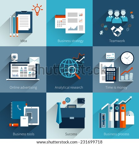 Business concept set with idea strategy teamwork online advertising isolated vector illustration - stock vector