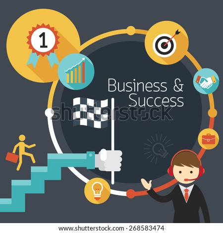 Business Concept, Stairway to Success, Frame, Flat Design of Business Marketing, Success and Achievement - stock vector
