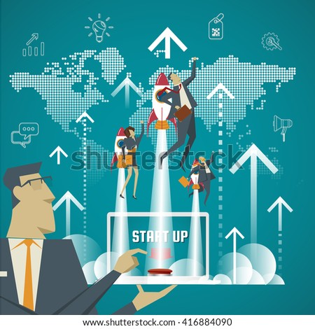 Business concept. Startup concept Business experts create new business models. - stock vector