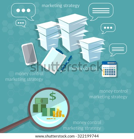 Business concept startup office work businessman banking payments paperwork vector illustration - stock vector