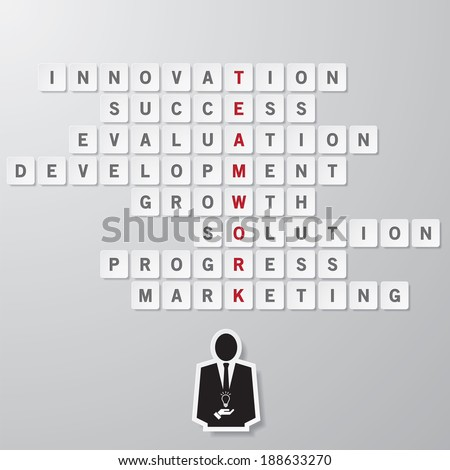 "business concept ""TEAMWORK"" wording on floating square puzzle. vector. - stock vector"