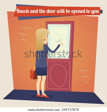 Business Concept Template Businesswoman with Briefcase Knocking at Customer Door on Stylish Background Retro Cartoon Design Vector Illustration - stock vector