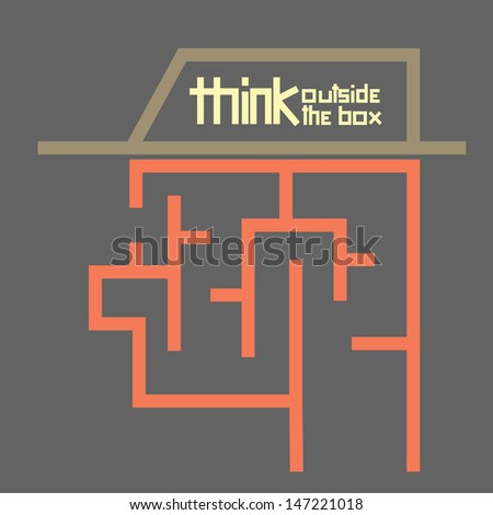 business concept think outside the box maze - stock vector