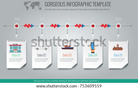 Business concept timeline Infographic template, realistic notepad 5 with steps. Illustrated vector.