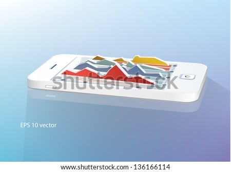 Business  concept: touchscreen smartphone with business graph. Vector illustration. - stock vector