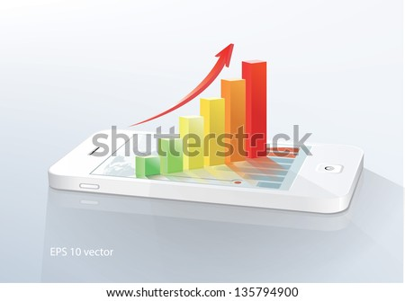 Business  concept: touchscreen smartphone with stock market application and  bar chart. Vector illustration. - stock vector
