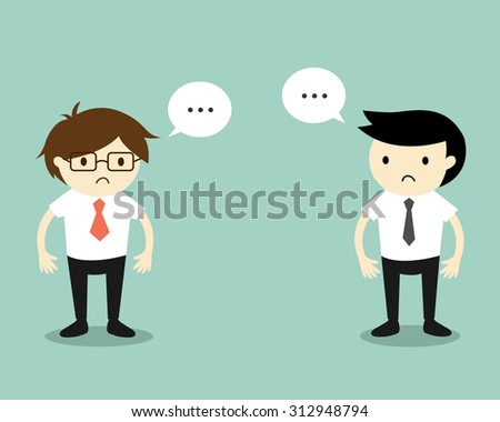 Business concept, Two businessmen feeling awkward with each other. Vector illustration. - stock vector