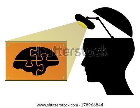 Business concept vector design with human head, lamp and brain. - stock vector