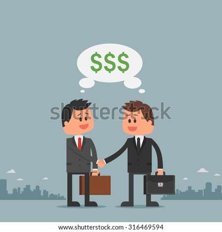 Business concept vector illustration in flat cartoon style. Business people shaking hands. Businessmen making a deal. Money investment concept. Dollar symbol. - stock vector