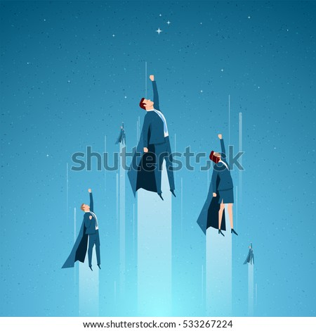 Business concept vector illustration. Team, leader, superior ability concept. Elements are layered separately in vector file.