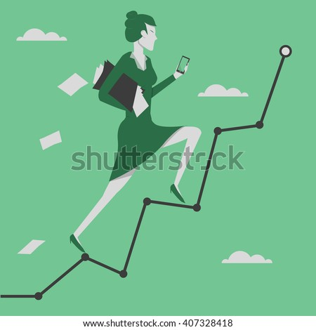 Business concept vector illustration. Woman reaching goal and holding smartphone in her hand. - stock vector