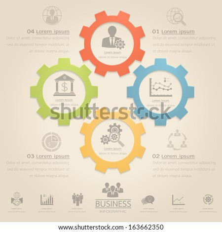 Business concept vector infographic gear with icon.Can be used for workflow layout, diagram, number options , web design. - stock vector