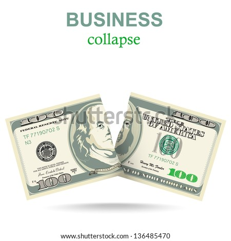 Business concept with a dollar collapse - stock vector