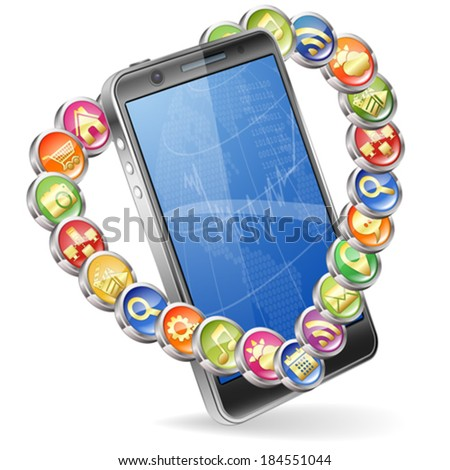 Business Concept with Smartphone and Application icons in Heart shape, vector isolated on white background