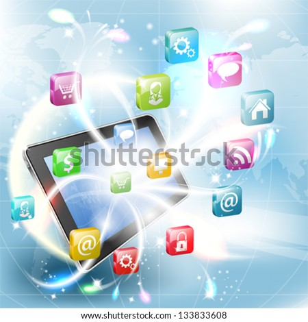 Business Concept with Tablet PC and Application icons, vector illustration - stock vector