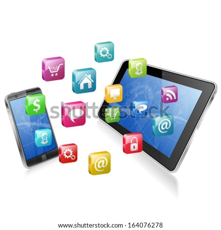Business Concept with Tablet PC, Smartphone and Application icons, vector illustration