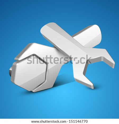 Business concept with wrench on blue background. - stock vector