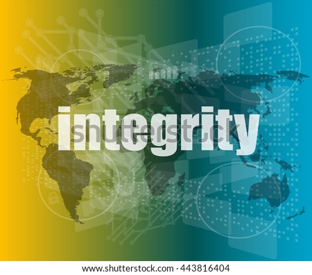 business concept: word integrity on digital background vector quotation marks with thin line speech bubble. concept of citation, info, testimonials, notice, textbox. flat style trend design - stock vector