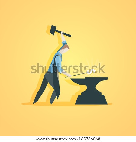 Business concept - Worker making money - stock vector