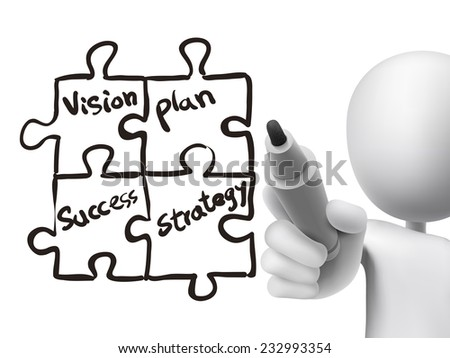 business concept written by 3d man over transparent board - stock vector