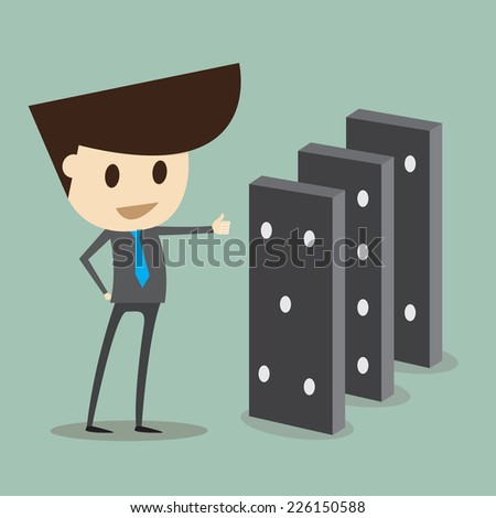 Business concept Young businessmen are pushing domino - stock vector