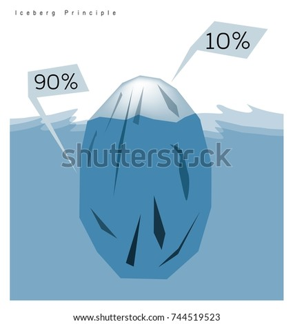 business concepts iceberg principle rule stock vector  business concepts iceberg principle or the 90 10 rule 90 percentage of iceberg